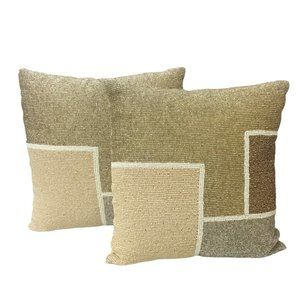 Pier 1 Imports Beaded Pillow Set Color Block Gold